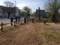 The first stage of the greening effort was to clear the lots and have inmates construct fencing around each.